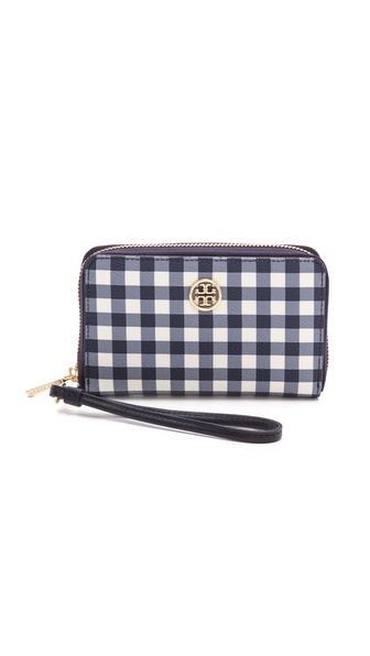 Tory Burch Robinson Printed Smartphone Wristlet - Navy Gingham at Shopbop / East Dane
