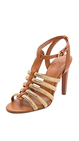 Tory Burch Charlene Metallic Caged Sandals