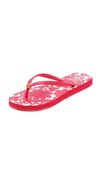 Tory Burch Thin Flip Flops - Lava Red/Silesa Flower Print