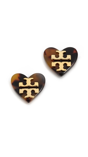 Tory Burch Tilsim Logo Heart Stud Earrings