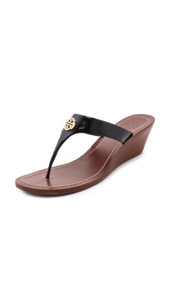 Tory Burch Cameron Wedge Thong Sandals - Black/Gold