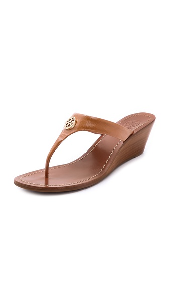 Tory Burch Cameron Wedge Thong Sandals - Tan/Gold