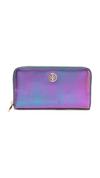 Tory Burch Robinson Iridescent Zip Wallet