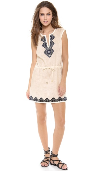 Shop Tory Burch online and buy Tory Burch Margherita Dress Ivory-Tory Navy - This breezy linen Tory Burch dress is trimmed with elaborate rickrack along the edges, lending a hit of elegant definition to the casual silhouette. Contrast embroidery accents the split V neckline and hem. A beaded drawstring cinches the waist. Sleeveless. Unlined. Semi sheer. Fabric: Lightweight weave. 100% linen. Hand wash or dry clean. Imported, China. MEASUREMENTS Length: 35in / 89cm, from shoulder. Available sizes: L,M,XS