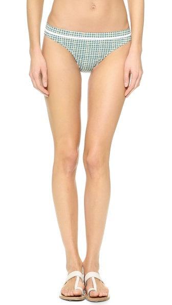 Shop Tory Burch online and buy Tory Burch Baleares Hipster Double Blocks A- White - Tory Burch bikini bottoms with a preppy print and contrast piping. Lined. Shell: 71% nylon/29% lycra spandex. Lining: 72% nylon/28% lycra spandex. Wash cold. Imported, China. Available sizes: L,S