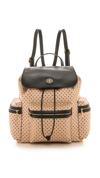 Tory Burch Kerrington Flap Backpack - Blush Champagne Dot at Shopbop