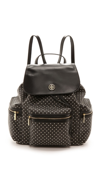 Tory Burch Kerrington Flap Backpack - Black Viva Dot Mini at Shopbop / East Dane