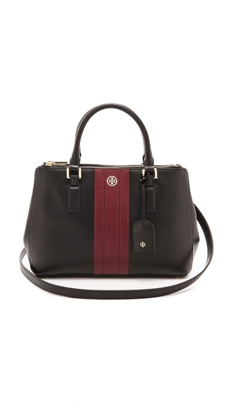 Tory Burch Robinson Stripe Mini Double Zip Tote