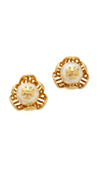 Tory Burch Caras Flower Stud Earrings