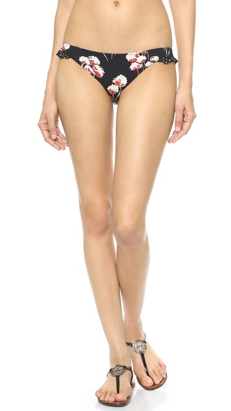 Shop Tory Burch online and buy Tory Burch Solaro Ruffle Bikini Bottoms Field Flowers Revised-Dot Mini - These floral Tory Burch bikini bottoms have polka dot ruffles for a touch of girly flair. Lined. 71% nylon/29% elastane. Hand wash. Imported, China. Size & Fit. Available sizes: S