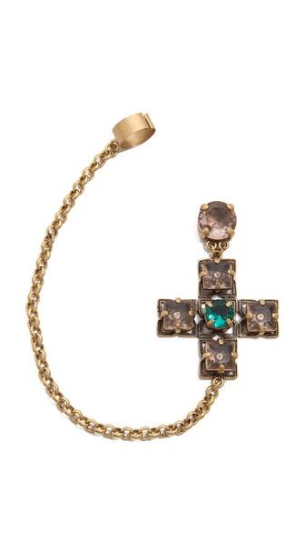 Tory Burch Jeweled Drop Earring Cuff