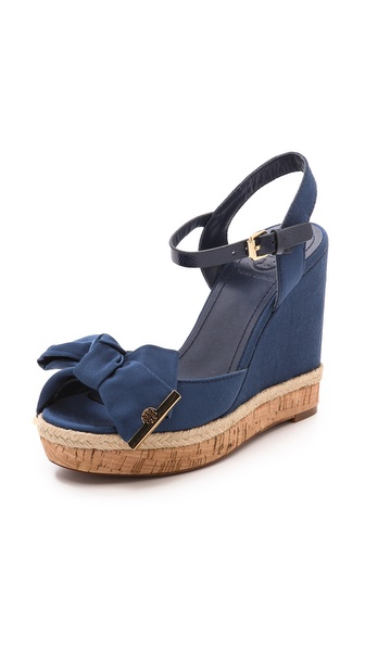 Tory Burch Penny Wedge Sandals - Newport Navy