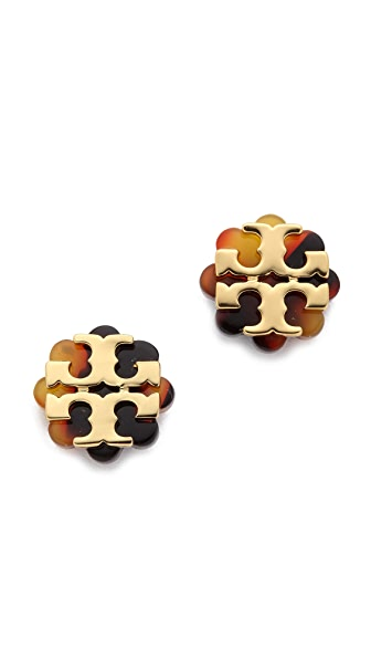 Tory burch logo flower resin stud earrings shopbop save for Tory burch jewelry amazon