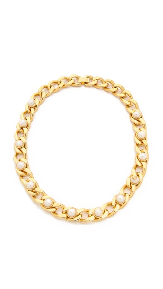 Tory Burch Winchel Pearl Chain Necklace - Ivory/Shiny Brass