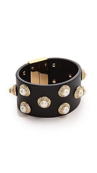 Tory Burch Natalie Leather Bracelet - Ivory/Black/Shiny Brass