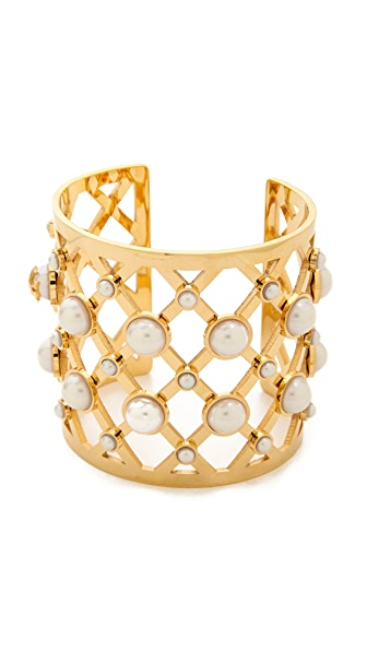 Tory Burch Glass Pearl Wide Cuff - Ivory/Shiny Brass