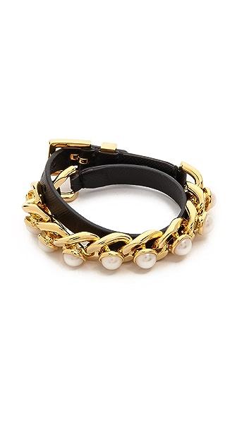 Tory Burch Winchel Chain Bracelet - Ivory/Black/Shiny Gold