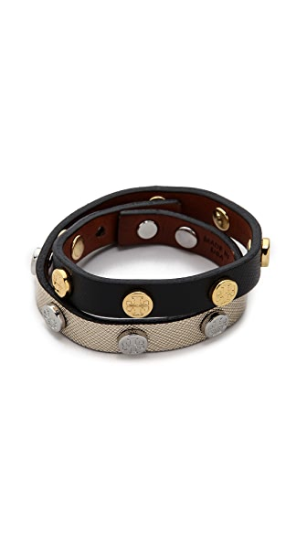 Tory Burch Double Wrap Logo Stud Bracelet - Black/Shiny Gold/Tor