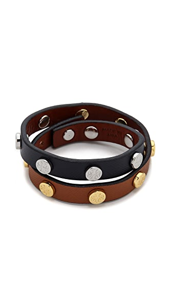 Tory Burch Double Wrap Logo Stud Bracelet - Luggage/Shiny Gold/N