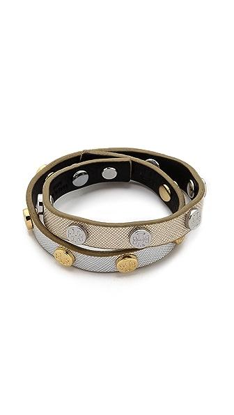 Tory Burch Double Wrap Logo Stud Bracelet - Gold/Tory Silver/Shi