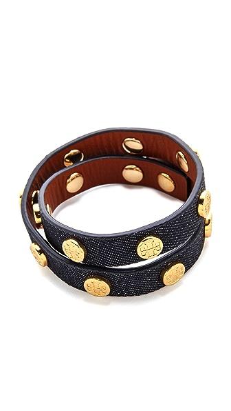 Tory Burch Double-Wrap Logo Stud Bracelet - Indigo/Shiny Brass