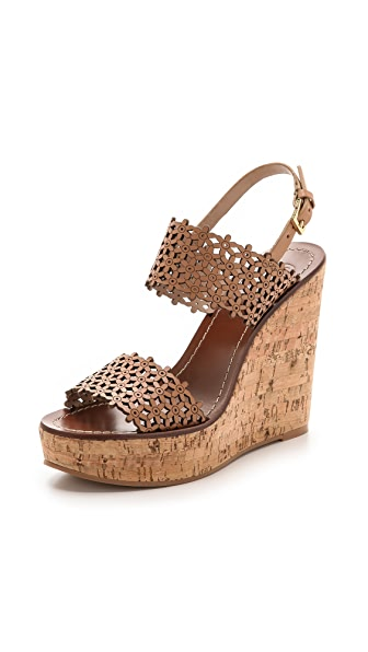 Tory Burch Tory Burch Daisy Perforated Wedge Sandals (Beige\/Sand\/Tan)