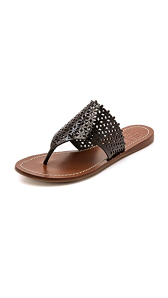 Tory Burch Tory Burch Daisy Perforated Flat Thong Sandals (Black)