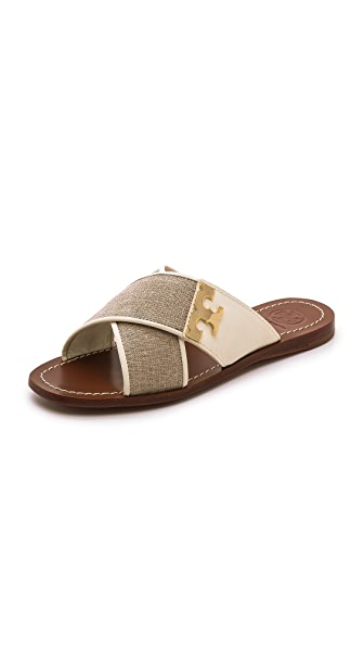 Tory Burch Tory Burch Culver Flat Slide Sandals (Beige\/Sand\/Tan)