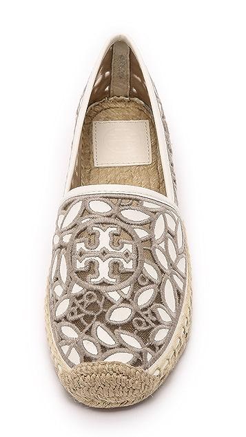 Tory Burch Rhea 系带平底帆布鞋