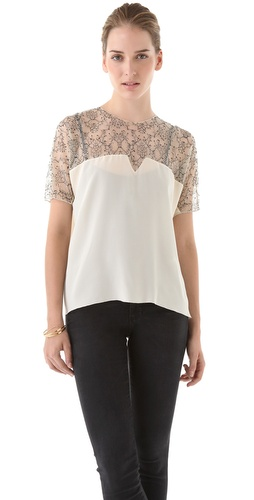 Shop Tribune Standard Pieced Top with Lace and Tribune Standard online - Apparel,Womens,Tops,Blouse, online Store