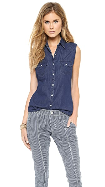 True Religion Shrunken Sleeveless Gerogia Shirt