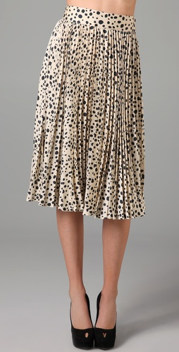 Tucker Pleated Knee Length Skirt