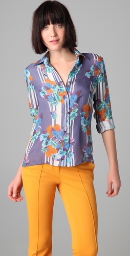 Tucker Slim Fit Button Down Blouse
