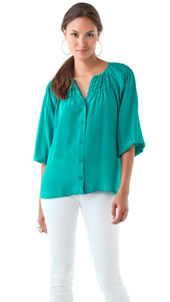 Tucker Wide Yoke Smocked Blouse