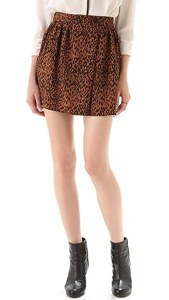Tucker Button Wrap Miniskirt