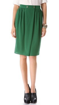 Tucker Button Wrap Skirt
