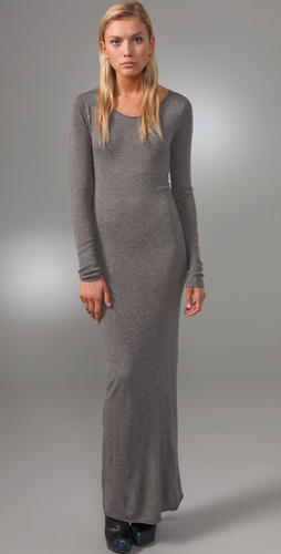 T by Alexander Wang Fitted Long Sleeve Maxi Dress