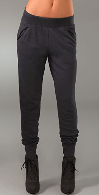 T by Alexander Wang French Terry Sweatpants with Leather Trim