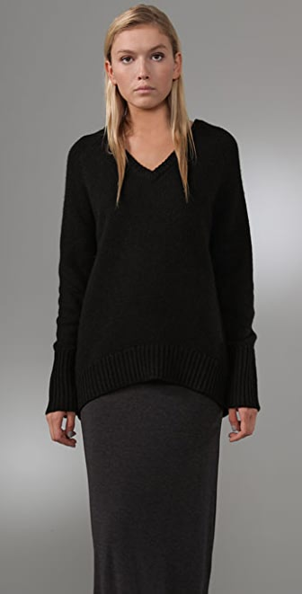 T by Alexander Wang V Neck Grandpa Sweater