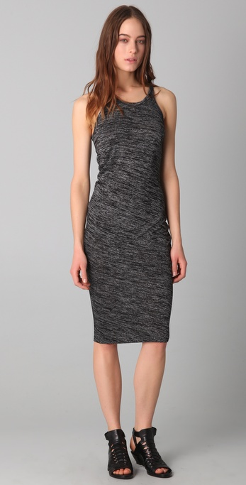 T by Alexander Wang Marled Drape Back Midi Dress