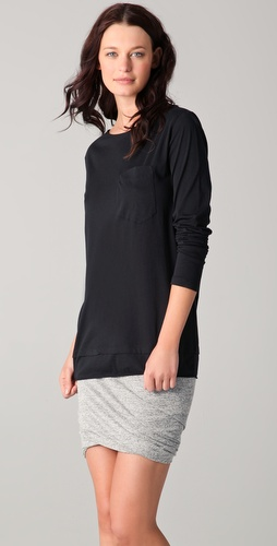 T by Alexander Wang Lightweight Roll Trim Long Sleeve Tee