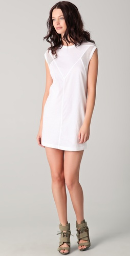 T by Alexander Wang Cotton Netting Combo Muscle Tee Dress