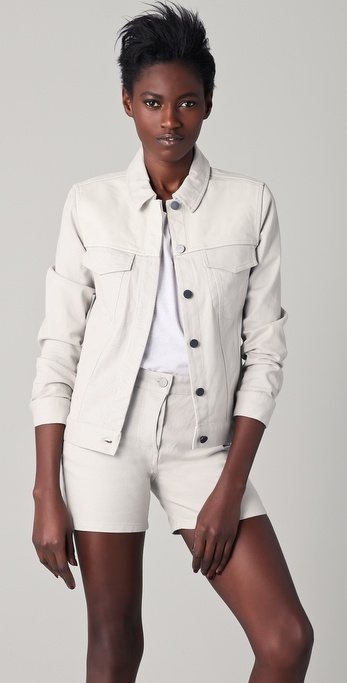 T by Alexander Wang Stretch Denim Jacket with Leather Yoke