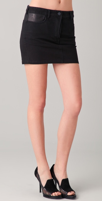 T by Alexander Wang Jean Skirt with Leather Yoke