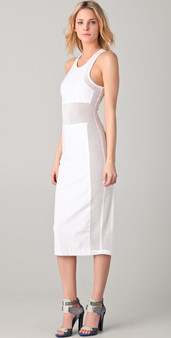 T by Alexander Wang Mesh Combo Midi Tank Dress
