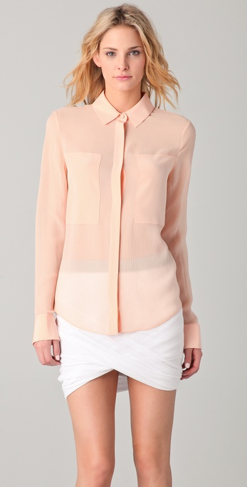 T by Alexander Wang Silk Combo Shirt