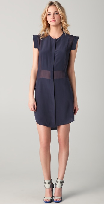 T by Alexander Wang Silk Combo Shirtdress