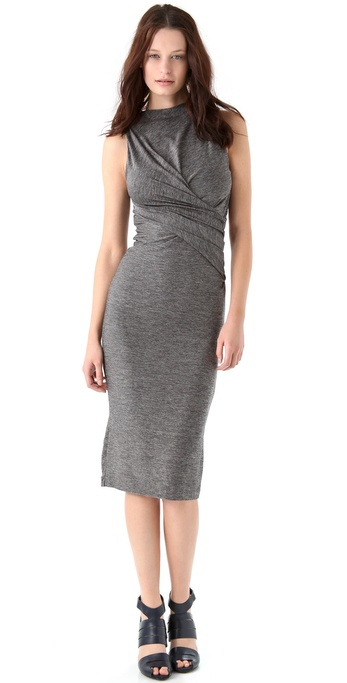 T by Alexander Wang Marled Jersey Twist Midi Dress