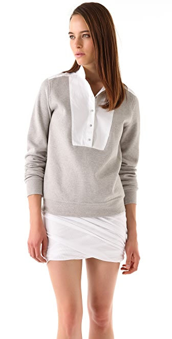 T by Alexander Wang Pique Oxford Placket Sweatshirt