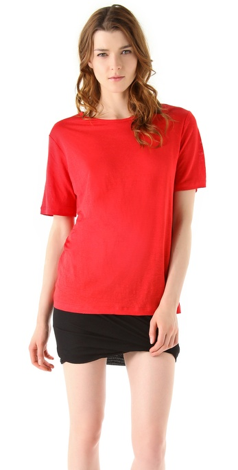 T by Alexander Wang Linen Silk Jersey Short Sleeve Sweater